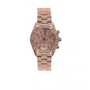 Geneva Men's Rolling Iced Stones Luxury Wrist Watch- Rose Gold
