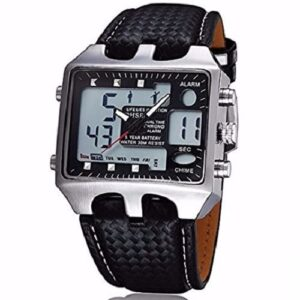 Ohsen Square Dial Waterproof Leather Strap Men's Watch